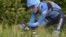 Canada's Ryder Hesjedal pedals during the eight stage of the Giro d'Italia, Tour of Italy cycling race, an individual time trial from Gabicce to Saltara, May 11, 2013. (Fabio Ferrari/AP)