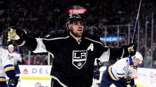 Anze Kopitar (11) of the Los Angeles Kings reacts to his goal to take a 1-0 lead over the St. Louis Blues during the second period at Staples Center on January 9, 2016 in Los Angeles, California. (Harry How/Getty Images)