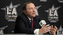 NHL commissioner Gary Bettman before the 2017 NHL All Star Game. Bettman met with IOC President Thomas Bach, IIHF President Rene Fasel and NHLPA Director Don Fehr Friday to discuss NHL involvement in the 2018 Olympics. (Gary A. Vasquez/USA Today Sports / Reuters)