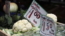 Vegetables are seen for sale in Soho's Berwick Street Market in central London May 17, 2011. (PAUL HACKETT/Reuters)