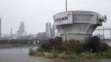 A crucible once used to carry molten steel is seen outside the Essar Steel Algoma plant November 13, 2015 in Sault Ste. Marie, Ont. (Kenneth Armstrong For The Globe and Mail)