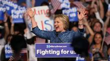Hillary Clinton speaks to her supporters during her Primary Night Event at the Palm Beach County Convention Center on March 15, 2016 in West Palm Beach, Florida. (Joe Raedle/Getty Images)