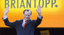 NDP leadership candidate Brian Topp reacts on stage during the NDP leadership convention in Toronto on Friday, March 23, 2012. (Frank Gunn/The Canadian Press)