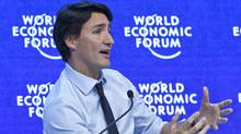 "Prime Minister Justin Trudeau speaks during a panel ""Progress toward Parity"" at the World Economic Forum in Davos, Switzerland, Friday, Jan. 22, 2016. (Michel Euler/AP)"