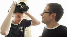 Daniel Clarkson (L) and Jefferson Turner (L) star in Potted Potter, a Harry Potter parody. They are photographed in Toronto Feb. 8, 2012. (Moe Doiron/Moe Doiron / The Globe and Mail)