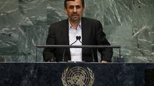 Iran's President Mahmoud Ahmadinejad speaks during the 67th United Nations General Assembly at U.N. headquarters in New York. (Mike Segar/REUTERS)