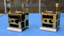Two Canadian nano-satellites dubbed Montreal and Toronto are scheduled to head to orbit Thursday from a launch site in Yasny, Russia. The satellites, built at the University of Toronto's Institute for Aerospace Studies are designed to make precision measurements of the most luminous stars in the night sky. (UTIAS - SPACE FLIGHT LABORATORY)