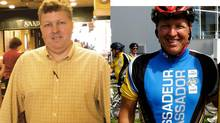 Cancer survivor Robert Collard lost 70 pounds by bike riding.