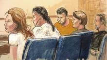 "In this courtroom sketch, Anna Chapman, left, Vicky Pelaez, second from left, the defendant known as ""Richard Murphy"", center, the defendant known as ""Cynthia Murphy"", second from right, and the defendant known as ""Juan Lazaro"" are seen in federal court in New York on June 28, 2010. (Elizabeth Williams/The Associated Press)"