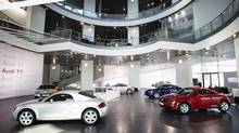 The Audi museum in Ingolstadt is parked next to a factory building Audi cars, and right across the courtyard is a delivery centre for new Audi buyers. (Audi)