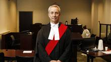 Justice Joseph Bovard, one of the judges instrumental of in getting the new integrated domestic violence court on Jarvis St., photographed at his courtroom. (Fernando Morales/The Globe and Mail/Fernando Morales/The Globe and Mail)