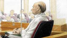 An artist's drawing of Robert Pickton during his first-degree murder trial at BC Supreme Court in New Westminster, Monday, Nov. 26, 2007. (JANE WOLSAK/The Canadian Press)