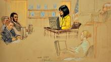 In a Pentagon-approved photograph of a sketch by artist Janet Hamlin, Arlette Zinck testifies during military commissions trial of Omar Khadr on Oct. 28, 2010 in Guantanamo Bay, Cuba.. Ms. Zinck came up with a curriculum for Mr. Khadr while he was detained, at his request. (Janet Hamlin)
