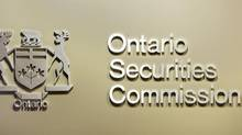 The Ontario Securities Commission sign is seen in the regulator's Toronto office. (Peter Power/Peter Power/The Globe and Mail)