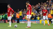 Manchester United's striker Zlatan Ibrahimovic waits to re-start the match after Watford scored their second goalon Sept. 18, 2016. (Adrian Dennis/AFP/Getty Images)