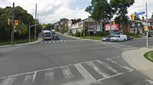 The intersection of Davenport Road and Lansdowne Avenue in Toronto, the location of an accident in which a cyclist was struck and killed, Nov. 23, 2012. (Google Maps / The Globe and Mail)