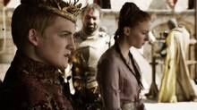 Jack Gleeson and Sophie Turner in Game of Thrones. Frame capture from YouTube.