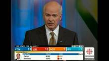 A image of Peter Mansbridge on Newsworld with election results on-screen ahead of the embargo. (CBC)