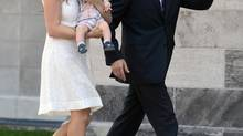 Peter MacKay, his wife Nazanin Afshin-Jam and baby Kian arrive at Rideau Hall in Ottawa on Monday, July 15, 2013. MacKay was sworn in as minister of justice. THE CANADIAN PRESS/Sean Kilpatrick (Sean Kilpatrick/THE CANADIAN PRESS)