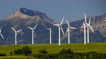 Wind turbines in the Alberta foothills west of Pincher Creek. (Norm Betts)