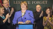 Newfoundland and Labrador Premier Kathy Dunderdale announces her resignation on Jan. 22, 2014. (GRAHAM KENNEDY/THE CANADIAN PRESS)