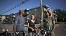 From left to right, friends Adam Kebede, Maya McDonald and Julien Thomas take a walk through their neighbourhood in East Vancouver, Friday, July 05, 2013. Each are renting modest places on the east side, where it's more affordable than on the west side. (Rafal Gerszak for The Globe and Mail)