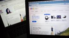 The eBay Inc. website is displayed on laptop computers in this arranged photograph. (Andrew Harrer/Bloomberg)