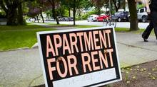 For Rent signs outside of a apartment in Vancouver, British Columbia on June 23, 2014. (Ben Nelms/The Globe & Mail)