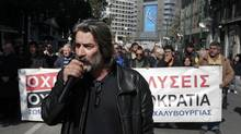 Workers of the Hellenic Halyvourgia steel plant march to the Labour Ministry in Athens, Feb. 24, 2012. Rolling strikes by doctors, students and others protesting austerity and the failed economy are daily occurrences in battered Greece. (Yiorgos Karahalis/Reuters/Yiorgos Karahalis/Reuters)