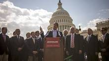 Republican Senator David Vitter speaks to reporters outside the U.S. Capitol in Washington about the government shutdown on Oct. 1, 2013. (JAMES LAWLER DUGGAN/REUTERS)