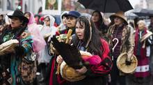 People march during the 26th Annual Women's Memorial March in Vancouver in February, 2016. (Rafal Gerszak For The Globe and Mail)