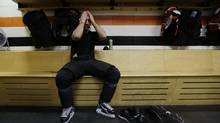 Maxime Talbot finishes a workout at the Philadelphia Flyers' training facility. (Matt Rourke/AP)