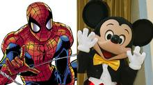 With Disney's purchase of Marvel Comics, Spider-man and Mickey Mouse are now members of the same team. (Frederick M. Brown/2004 Getty Images)