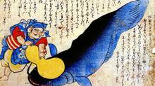 """The """"namazu,"""" or catfish, is a legendary figure and a popular subject of ukiyo-e woodblock prints: a giant underground catfish who swishes up his tail to cause earthquakes -- often shown with a monkey or a minor deity called Kashima on his back attempting to restrain the damage. Earthquakes were also explained by an imbalance of yin forces (water) and yang forces (fire) inside the earth. www.foreignpolicy.com (www.foreignpolicy.com)"""