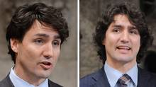 Two photos of Liberal leadership candidate Justin Trudeau in the House of Commons on Parliament Hill in Ottawa on March 7, 2013 (left) and March 12, 2012 (right). (Sean Kilpatrick/CP)
