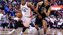 DeMar DeRozan of the Toronto Raptors dribbles the ball as Malcolm Brogdon of the Milwaukee Bucks defends in the second half of Game One of the Eastern Conference Quarterfinals during the 2017 NBA Playoffs at Air Canada Centre on April 15, 2017 in Toronto. (Vaughn Ridley/Getty Images)