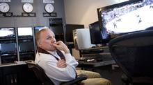 NHL Senior Vice President and Director of Hockey Operations Colin Campbell works in the NHL's video review room in Toronto Monday, November 29, 2010. (Darren Calabrese/THE CANADIAN PRESS)