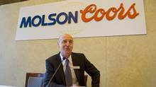 Molson Coors Brewing Company president and CEO Peter Swinburn talks to the media after one of the company's annual shareholders meeting in Montreal on May 13, 2009. (SHAUN BEST/REUTERS)
