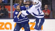 Toronto Maple Leafs right wing David Clarkson fights against Tampa Bay Lightning right wing B.J. Crombeen at Air Canada Centre. (Tom Szczerbowski/USA Today Sports)