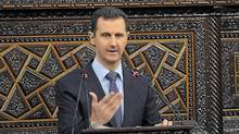 "Syria's President Bashar al-Assad delivers a speech to Syria's parliament in Damascus, June 3, 2012, in this handout photograph released by Syria's national news agency SANA. al-Assad on Sunday condemned the ""abominable"" massacre of more than 100 people in Houla, saying even monsters could not carry out such acts, and promised a 15-month-old crisis would end soon if Syrians pulled together. (SANA/Reuters)"