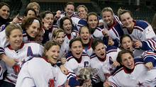 The Montreal Stars celebrate after winning the Clarkson Cup in the Canadian Women's Hockey Championship on March 21, 2009. (Ian MacAlpine/The Canadian Press)