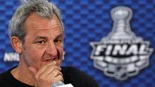 Los Angeles Kings head coach Darryl Sutter listens to a question during a news conference before Game 5 of the NHL Stanley Cup Final between the New Jersey Devils and the Los Angeles Kings in Newark, New Jersey June 8, 2012. Game 5 of the Stanley Cup Final will be played June 9 in Newark. (ADAM HUNGER/REUTERS)