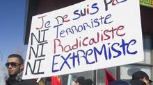 A recent demonstration in Quebec against an international anti-Islamic group: 'I am here to defend the freedom of all Quebeckers of all origins,' says Premier Philippe Couillard, 'and I say no to exclusion and discrimination. (Graham Hughes/THE CANADIAN PRESS)