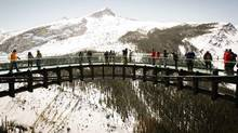Critics feel that the Glacier Skywalk detracts from the beauty of the Sunwapta Valley. (Jeff McIntosh/THE CANADIAN PRESS)