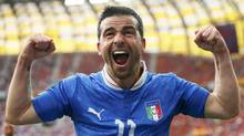 Italy's Antonio Di Natale celebrates after scoring a goal during their Group C Euro 2012 soccer match against Spain at the city stadium in Gdansk, June 10, 2012. (Reuters)