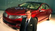 Jim Farley, Ford Motor Company, Group Vice President, Global Marketing, Sales and Service, in front of the new 2013 Lincoln MKZ at its unveiling. (Ford)