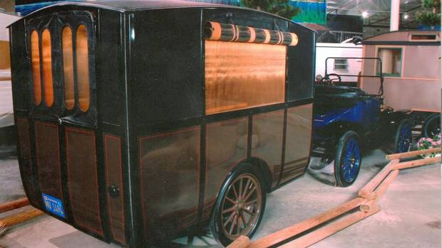 The 1913 Earl Trailer and Model T Ford is believed to be the oldest non-tent travel trailer in existence. It is the ancestor of the contemporary travel trailer. Custom built for a Cal Tech professor. On permanent display at the he RV/MH Hall of Fame courtesy of Wade Thompson, Thor Industries.