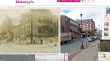 Screengrab from Historypin, showing a N.S. Archives photo titled: Pine Coffins for Victims of the Explosion 1917. The building pictured still stands, and using Historypin's slider you can fade the old picture out to look at the modern landscape behind it. (Historypin.com)