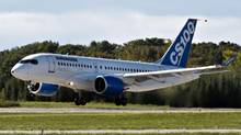 Bombardier's C Series 100 takes off on its maiden test flight at the company's facility Monday, Sept. 16, 2013. (RYAN REMIORZ/THE CANADIAN PRESS)
