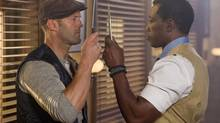 Lee Christmas (Jason Statham, left) and Doc (Wesley Snipes) in The Expendables 3: the rare quiet moment are as welcome as a popsicle in the desert.